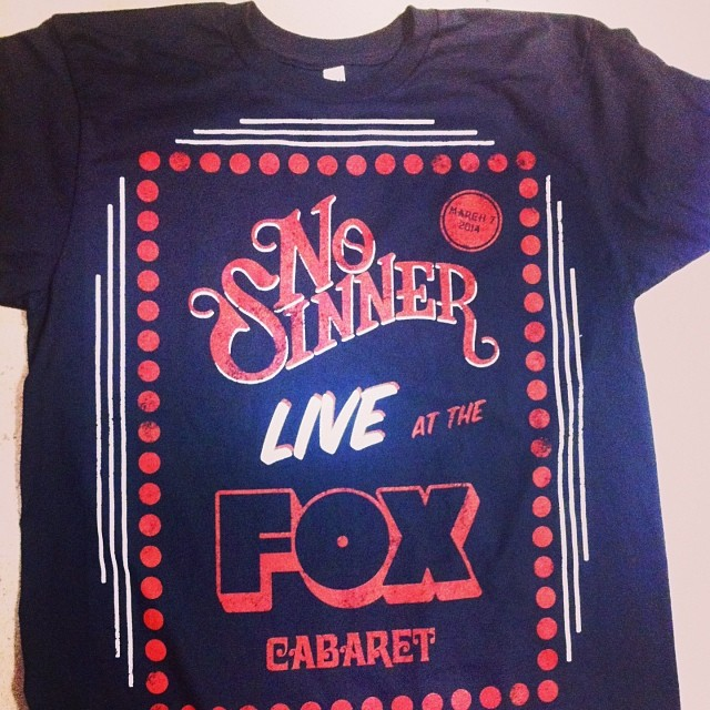We made some #limitedadition event tees for #nosinner...with our newly formed sister company #someproductmerch ... #custom #graphics #printing #bandmerch #graphictees #madeincanada #vancouver #music @nosinner @foxcabaret @leather_tuscadero