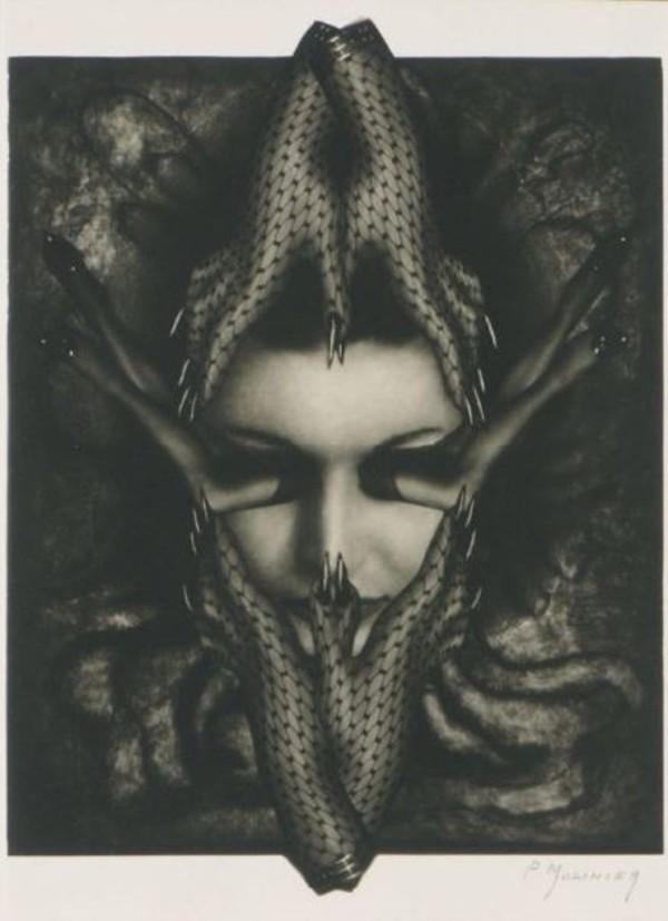 pierre-molinier-photomontage-pour-le-chaman-et-ses-crc3a9atures-1970-via-drouot